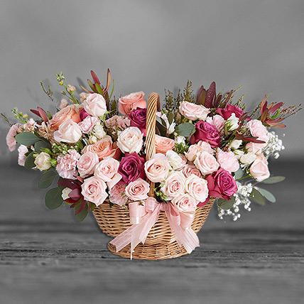 Delightful Mixed Flowers Basket: Premium Flowers