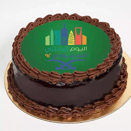 National Day Theme Chocolate Truffle Cake 1 Kg: Saudi National Day Gifts