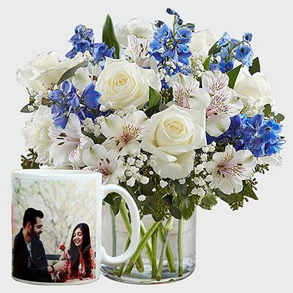 Personalised Mug And Beautiful Flowers