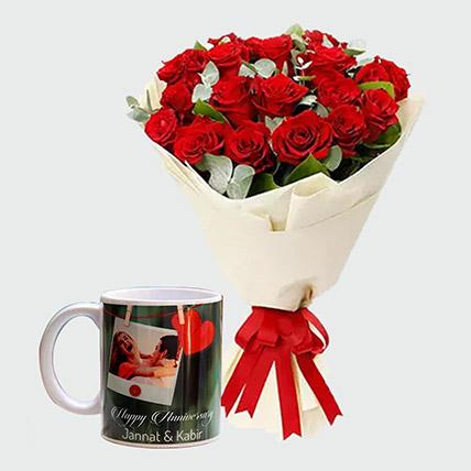 Sweet Red Roses And Personalised Mug