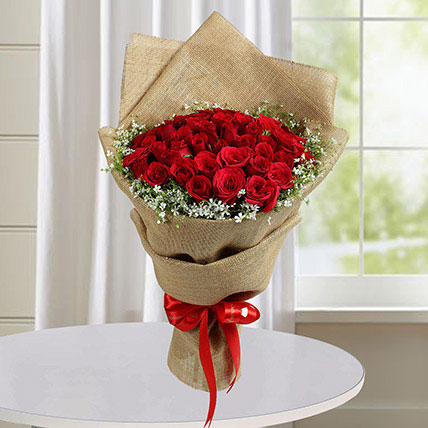 50 Red Roses Bouquet With Brown Wrapping