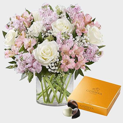 Elegant Beauty Flowers N Godiva Gold Chocolate Box