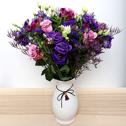 Roses N Alstromeria In White Ceramic Vase