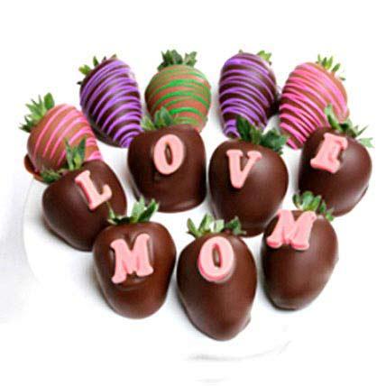 Belgian Chocolate Love Mom Strawberries