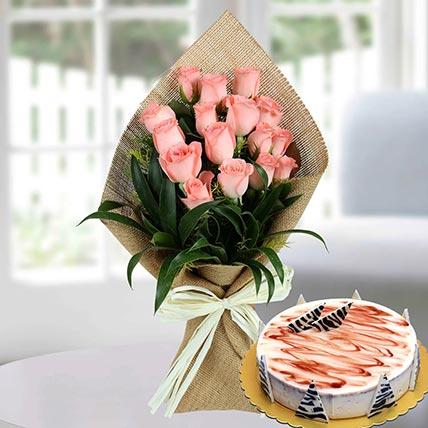16 Baby Pink Roses & Choco Vanilla Cake 8 Portions