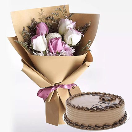 Choco Butter Cream Cake with Mixed Flowers