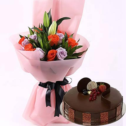 Online Chocolate Cake With Mixed Roses Gift Delivery In Saudi Arabia Ferns N Petals