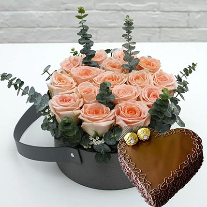 Heart Shaped Cake with Light Pink Roses