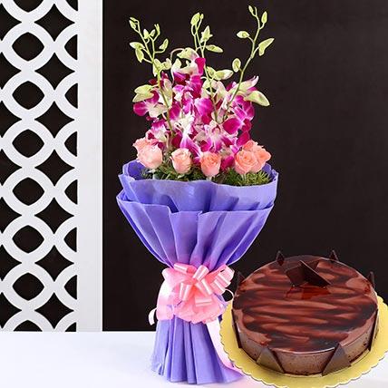 Lovely Flower Bunch & Choco Ganache Cake 8 Portions