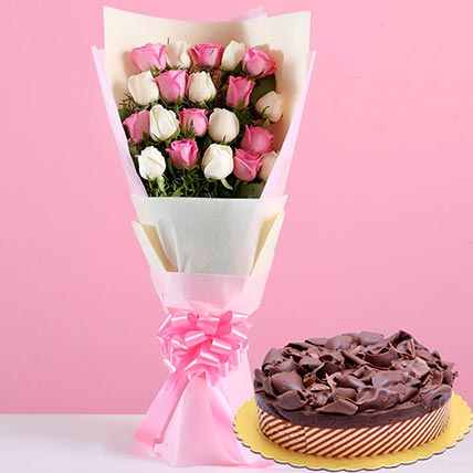 Pink White Roses & Chocolate Mousse Cake 8 Portions