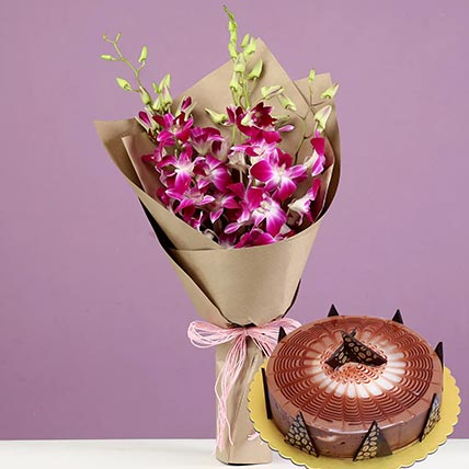Purple Orchids & Cappuccino Cake 4 Portions