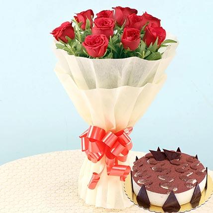 Romantic Roses & Tiramisu Cake 8 Portions