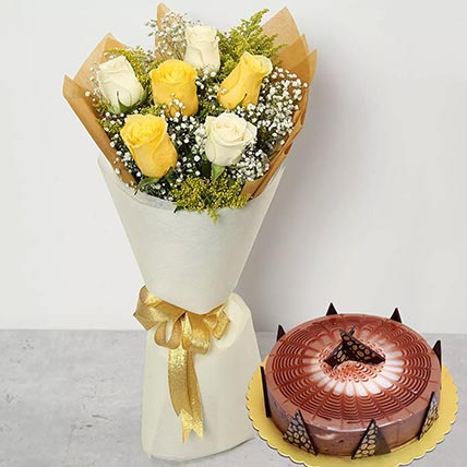 White Yellow Roses & Cappuccino Cake 12 Portions
