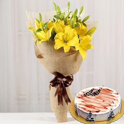 Yellow Lilies & Choco Vanilla Cake 4 Portions