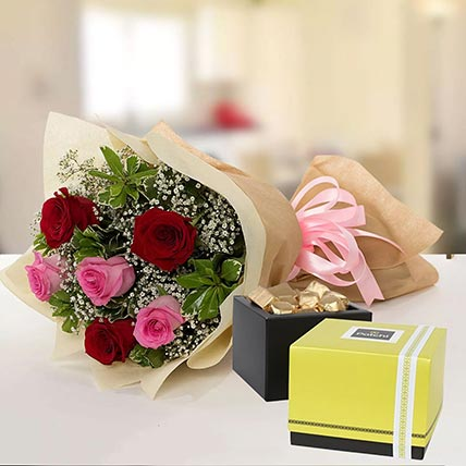 Beautiful Roses & Patchi Chocolates 500 gms