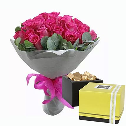Dark Pink Roses Bunch & Patchi Chocolates 250 gms