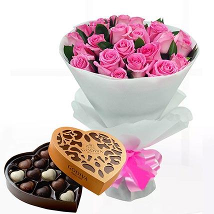 Delicate Pink Roses & Godiva Chocolates 500 gms