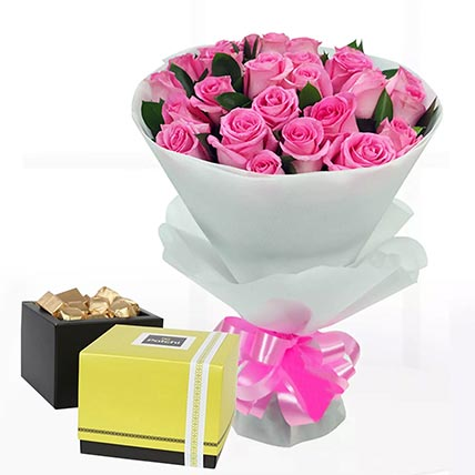Delicate Pink Roses & Patchi Chocolates 500 gms