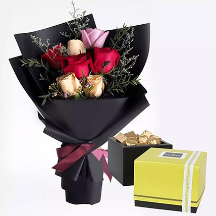 Mixed Roses Posy & Patchi Chocolates 750 gms