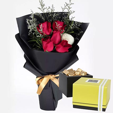 Romantic Red Roses & Patchi Chocolates 250 gms