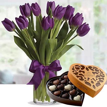 Royal Purple Tulips & Godiva Chocolates 500 gms