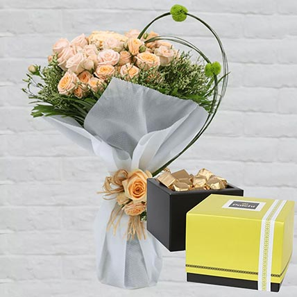 Spray Roses Bouquet & Patchi Chocolates 750 gms