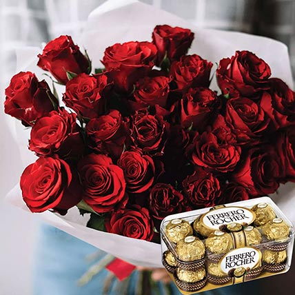 Vivid Red Roses Bunch & Ferrero Rocher 16 Pcs