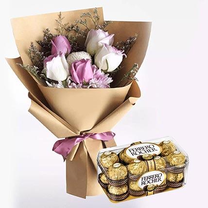 White Purple Flowers & Ferrero Rocher 16 Pcs