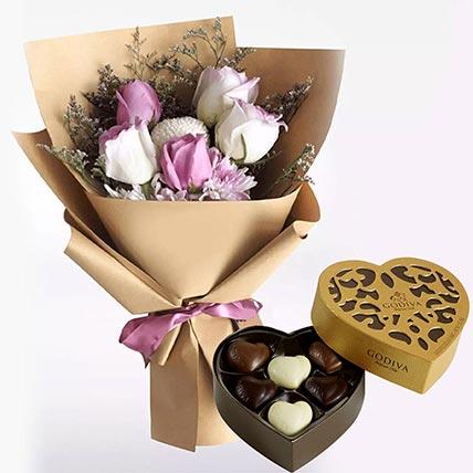 White Purple Flowers & Godiva Chocolates 250 gms