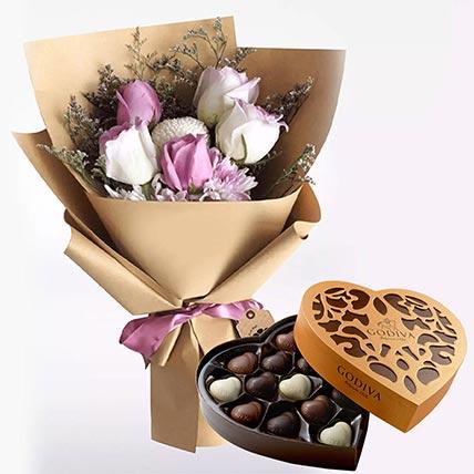 White Purple Flowers & Godiva Chocolates 500 gms
