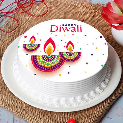 Diwali Diyas Print Cake