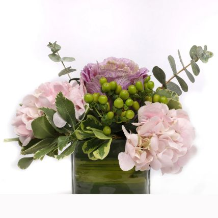 Beautiful Pink Hydrangea in Glass Vase