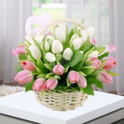 Pink White Tulips Basket