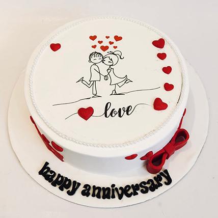 Beautiful Anniversary Cake 16 Portions Chocolate
