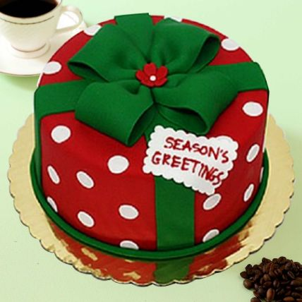 Christmas Greetings Theme Cake 8 Portions Vanilla