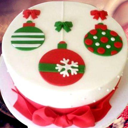 Christmas Theme Cake 8 Portions Vanilla