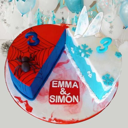 Frozen And Spiderman Theme Cake 12 Portions Vanilla