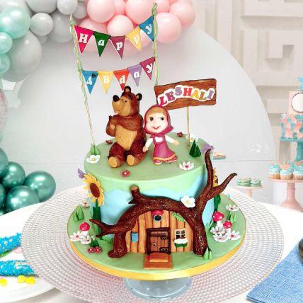 Masha And Bear Theme Cake 16 Portions Chocolate