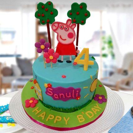 Peppa Pig Theme Cake 12 Portions Vanilla