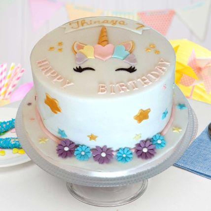 Pretty Unicorn Theme Cake 16 Portions Vanilla