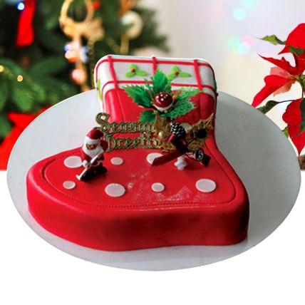 Season's Treat Christmas Theme Cake 12 Portions Chocolate