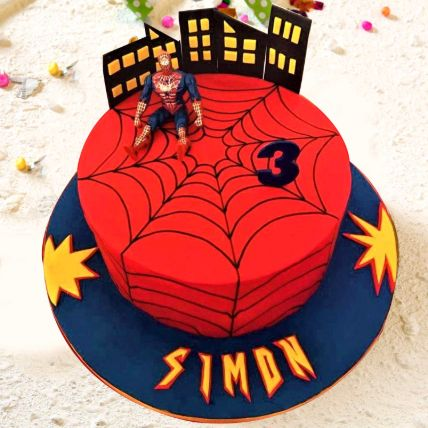Spiderman Theme Cake 8 Portions Chocolate