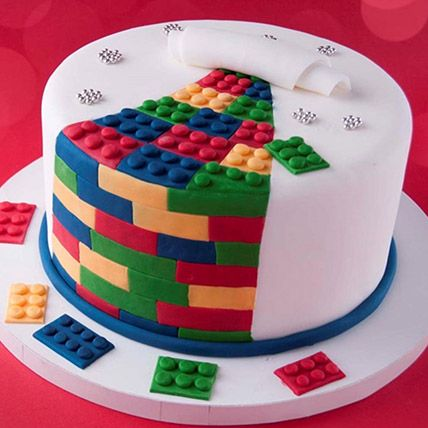The Lego Blocks Theme Cake 8 Portions Vanilla