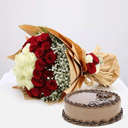 Tempting Cake & Roses Combo