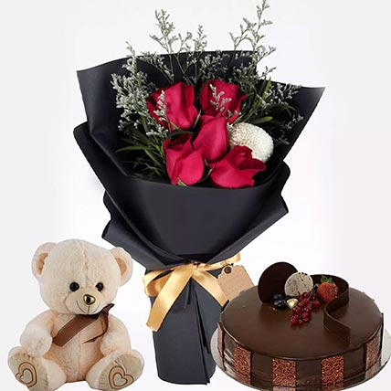 Chocolate Cake with Soft Toy & flowers