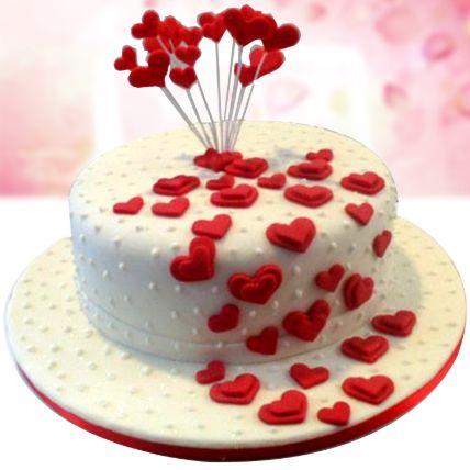 Flowing Hearts Red Velvet Fondant Cake 1.5 Kg