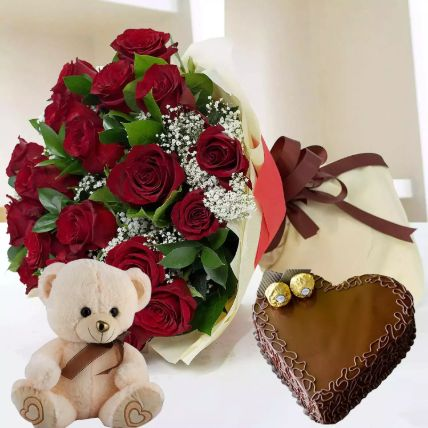 Heart Shaped Cake with Red Roses And Teddy