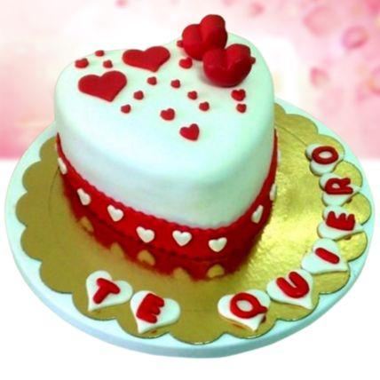 I Love You Red Velvet Fondant Cake Half Kg