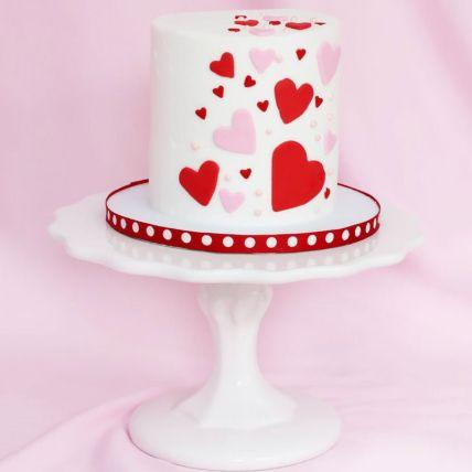 Red & Pink Heart Chocolate Cream Cake 1.5 Kg