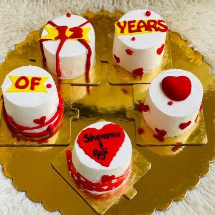 Togetherness Love Red Velvet Fondant Cup Cakes Set of 5